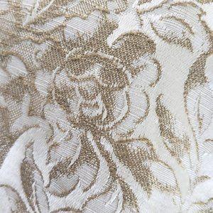 Accents - Vtg Curtain Panels Tan Damask Floral 76x83
